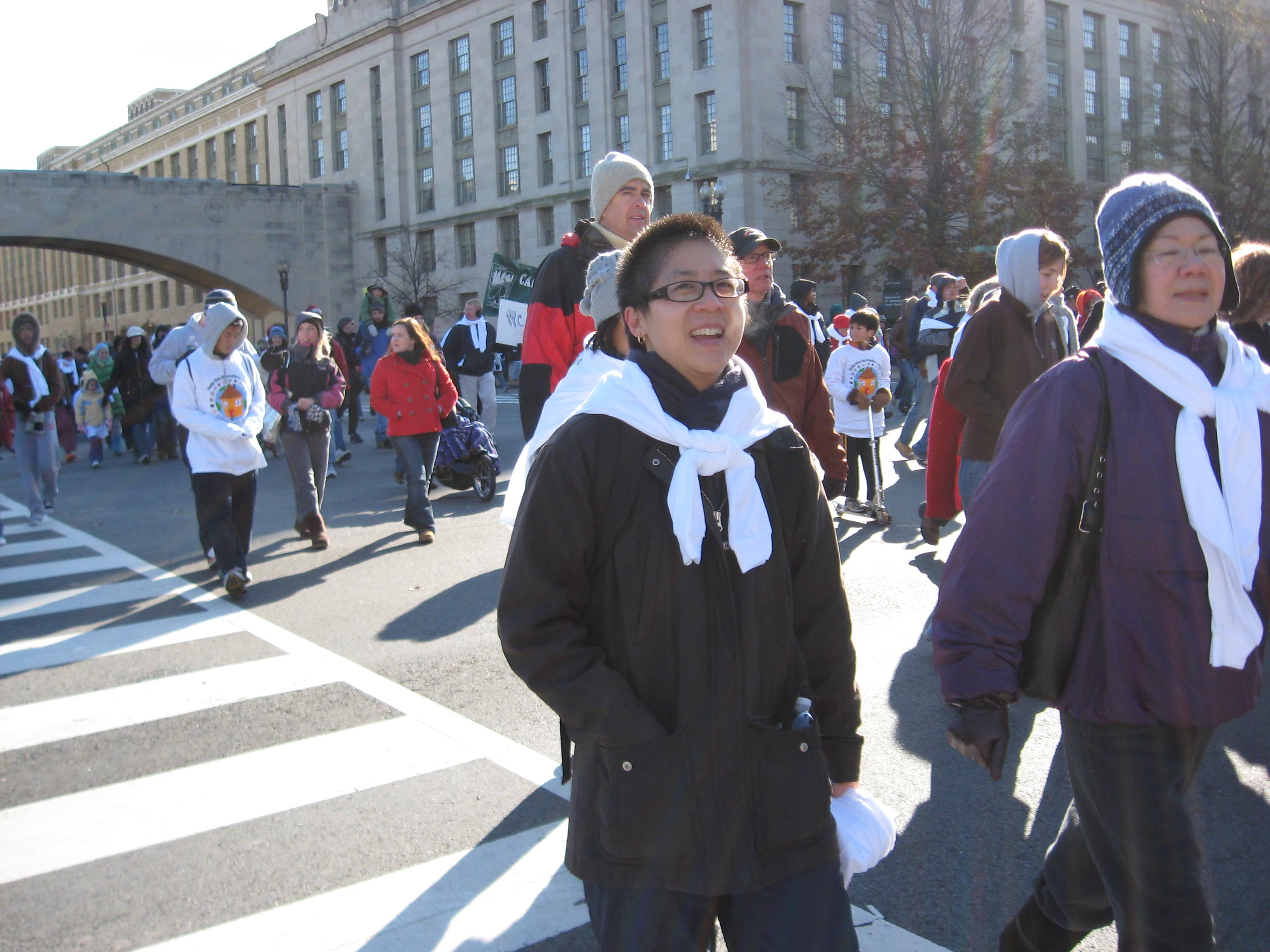 Christina & Ru Walking Fast to Stay Warm
